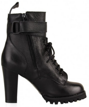 Chunky Heel Boots with Side Zip Closure