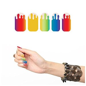 Colorful Rainbow Drip Nail Polish Strip Design