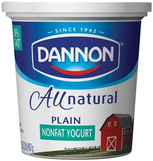 Dannon All Natural Quart Plain Nonfat Yogurt