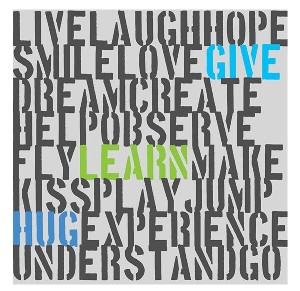 Green Leaf Art 'Give Learn Hug' Wall Art