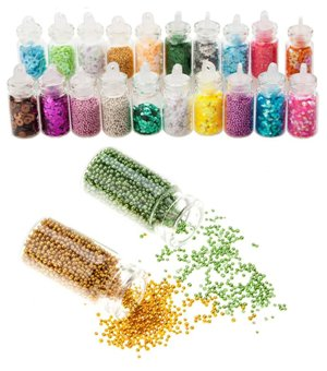 High Quality Professional Nail Art Set of Glitters, Caviar  Beads  Mini Pearls And Sparkles Decorations By VAGA
