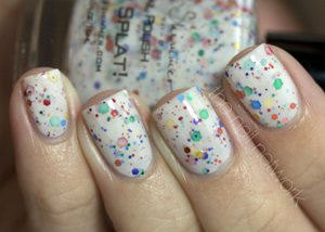 Oh Splat White Glitter Nail Polish with Rainbow Glitters