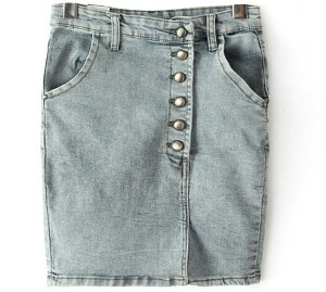 Single-breasted Kick Pleat Denim Skirt