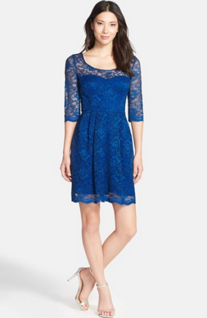 Betsey Johnson Illusion Yoke Lace Fit & Flare Dress