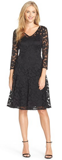Chetta B Lace Fit & Flare Dress