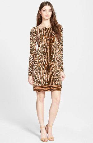 Michael Kors Animal Print Boatneck Shift Dress