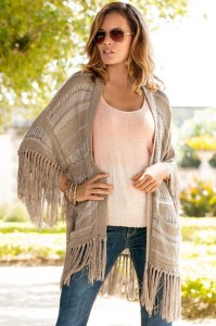 Mixed Stitch Fringe Cardigan