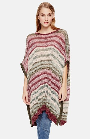 Two by Vince Camuto Marled Intarsia Stripe Poncho