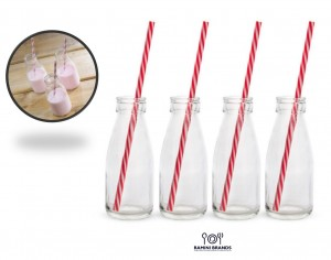 Vintage Style Milk Bottles With Straws