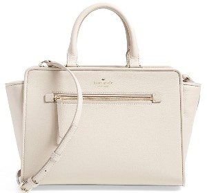 kate spade new york 'north court - coralline' pebbled leather satchel