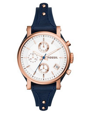1. Fossil Women's ES3838 Original Boyfriend Chronograph Leather Watch