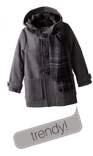 1. Rothschild Big Boys' Faux Wool Toggle Coat with Scarf