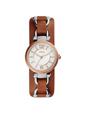 2. Fossil Women's ES3855 Georgia Artisan Three-Hand Leather Watch - Dark Brown