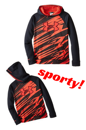 4. Under Armour Youth Boys Fleece Storm Printed Big Logo Hoody