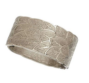 8. Fall Leaf Bracelet Hinged Textured Leaf Pattern