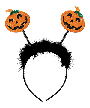 Black & Orange Pumpkin Halloween Bobble Headband