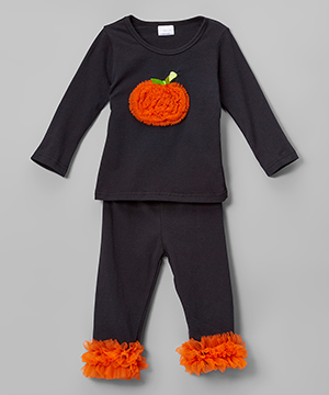 Black & Orange Pumpkin Ruffle Pants Set - Toddler & Girls