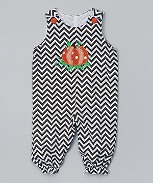 Brown Chevron Pumpkin Overalls - Infant