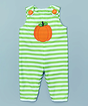 Green Stripe Pumpkin Overalls - Infant & Toddler