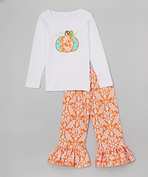 Orange & Aqua Damask Pumpkin Set - Infant, Toddler & Girls