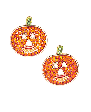 Orange Crystal Pumpkin Stud Earrings