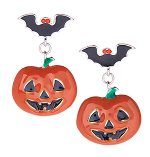 Orange & Red Crystal Pumpkin Drop Earrings