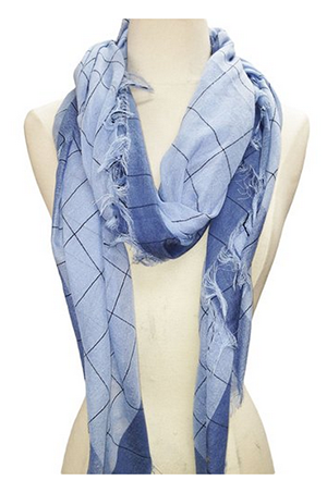 Soft Cotton Scarf with Metallic Silver Splash