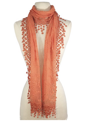 Vintage Mesh Crochet Tassel Embroidered Lace Cotton Scarf