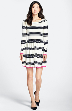 b. Fit and Flare Sweater Dress Ivory