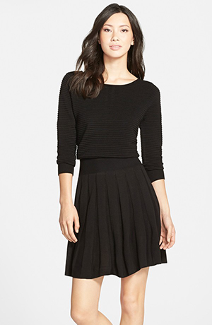 d. Pleated Blouson Sweater Dress