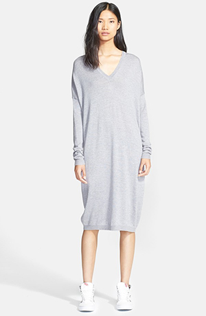 d. V neck wool sweater dress