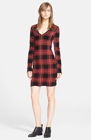 e. Plaid V-neck Sweater Dress