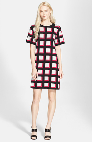 e. Windowpane Check Sweater Dress