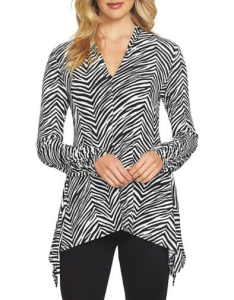 Chaus Ruched Sleeve V-Neck Zebra Top
