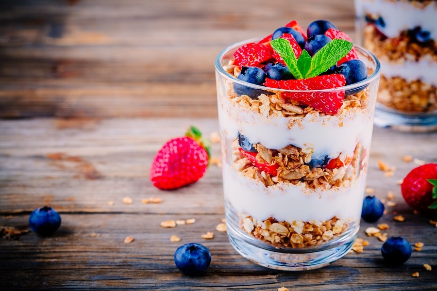 Strawberry and Blueberry Yogurt with Granola